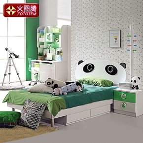 火图腾儿童家具套房组合儿童床男孩/公主熊猫床卡通床儿童单人床
