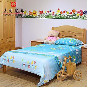 光明环保全实木儿童床 进口榉木单人床 公主女孩男孩家具套房组合