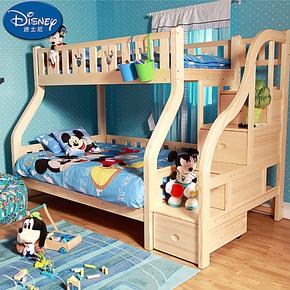 迪士尼实木双层床高低床子母床 酷漫居松木儿童床 上下铺 带梯柜
