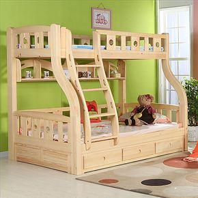 家具松木子母床 儿童床上下床 双层床母子床 实木高低床 童床套房