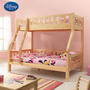 迪士尼 实木子母床儿童上下双层床挂梯高低床 全芬兰松木床