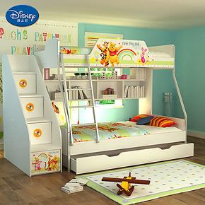 迪士尼 子母高低床 双层床实木儿童床 维尼拼拼乐园 上下铺