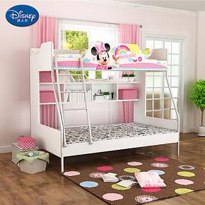 迪士尼儿童高低床 子母床双层上下床男孩女孩童床 带下床儿童床垫
