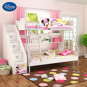 迪士尼儿童家具 酷漫居儿童高低子母床双层上下床上下铺组合 梯柜