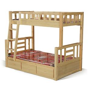 厂家直销 松木双层床 松木子母床 儿童高低床带抽屉实木床特价
