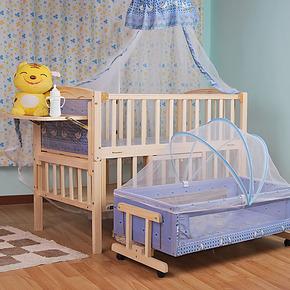 婴儿床实木无漆 特价多功能 送独立摇篮可变书桌 童床 18省包邮