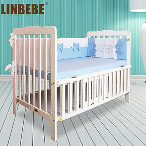 20省包邮!霖贝儿0-5岁可变书桌多功能婴儿床实木儿童床宝宝床bb床