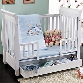 爱斯博儿欧式婴儿床 实木无味环保漆宝宝BB床童床白色出口多功能