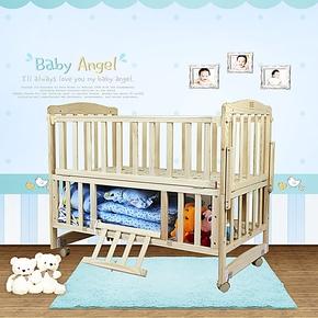 婴儿床宝宝床 实木无漆童床 可变书桌可加长bb床 可做独立摇篮床
