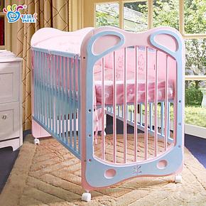 婴妮儿福耳兔卡通实木婴儿床童床 出口多功能宝宝床bb床游戏床