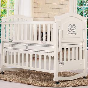 婴乐谷 高档白色环保婴儿床 实木摇篮宝宝童床变书桌多功能带音乐