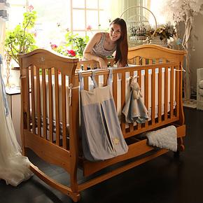 贝乐堡莫奈松木多功能婴儿床实木BB摇篮幼儿童床游戏抽屉滚轮包邮
