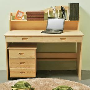 松木儿童学习桌椅套装实木学生小书桌椅书架组合课桌 特价免物流