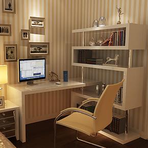 乐私 旋转简约现代转角书桌书架组合电脑桌台式桌家用写字台桌子