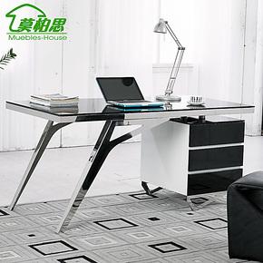 【预售】新品不锈钢书桌 钢化玻璃面烤漆柜转角写字台电脑桌
