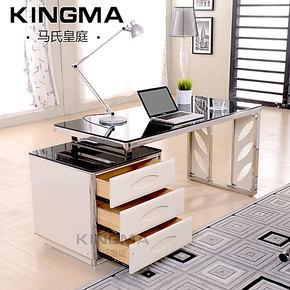 马氏皇庭 钢琴烤漆书桌 钢化玻璃抽屉写字桌 不锈钢办公桌电脑桌