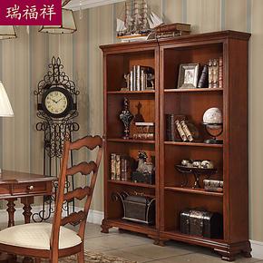 瑞福祥乡村书柜美式书架自由组合 书房实木储物柜 置物架子AI-209