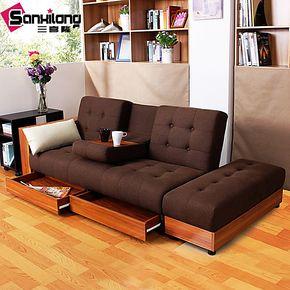 三喜隆 沙发床 记忆棉 宜家多功能双人 客厅 折叠储物小户型 拆装