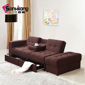 三喜隆 沙发床 记忆棉多功能布艺收纳 宜家 折叠客厅 双人小户型