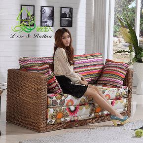藤佳人 特价包邮折叠沙发床1.2米 1.5米沙发床 藤沙发 双人沙发床