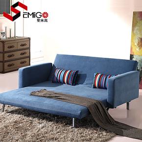 圣米高 1.8三人多功能折叠沙发 宜家坐卧两用双人布艺沙发床 包邮