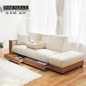 金木斯多功能折叠抽屉沙发床 储物拆洗沙发 小户型布艺沙发 包邮