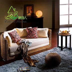 藤佳人 特价包物流 藤编沙发床 折叠沙发床 圆沙发床 双人沙发