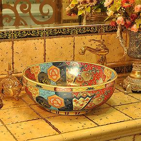 【景焱复古】 欧式华丽陶瓷艺术台盆洗脸盆洗面盆台上盆-HL666