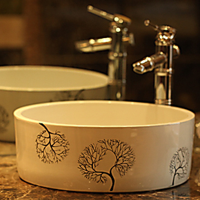 全国包邮景德镇地中海风格洗手盆洗脸盆台上盆洗面盆台盆-槐树