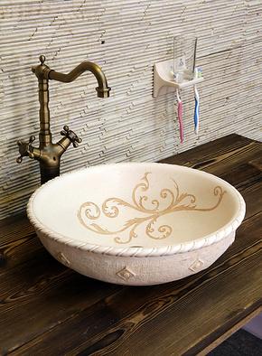 Meaka/茗嘉 欧式仿古艺术台上洗面盆 奢华人造石卫浴洗手洗脸盆
