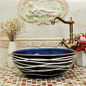 特价包邮 欧式地中海 陶瓷艺术台盆洗脸盆台上盆洗面盆—线条色釉