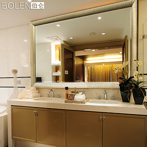 BOLEN 浴室镜子 卫生间镜子 卫浴 镜子 现代简约 有胡桃木色 0052