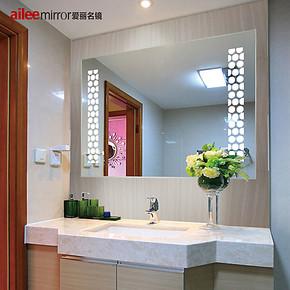 爱丽名镜 浴室镜卫生间节能灯镜无框镜边雕花防水雾镜子包邮DJ102