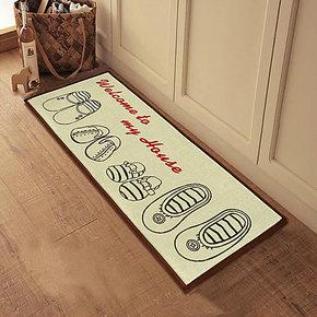 优麦 新品 美式田园布艺棉麻防滑地垫门垫阳台垫移门垫床边毯垫子