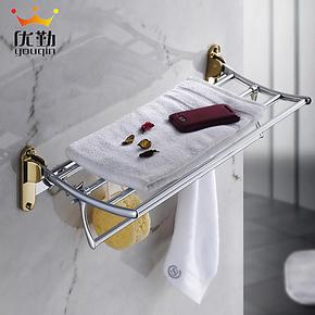 优勤卫浴 欧式浴室卫生间五金挂件套装浴巾架 豪华镀金BDJ6609