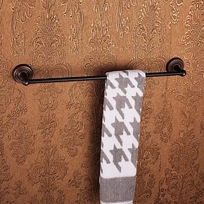 伊梵卫浴全铜仿古单杆浴巾毛巾架 毛巾挂杆 浴室套装挂件卫生间置