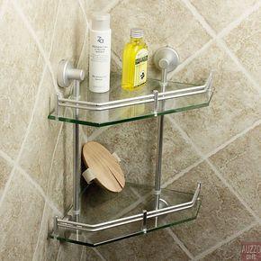【惊艳玻璃】太空铝卫浴三角架卫生间厕所浴室置物架转角架浴室架
