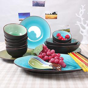[尚韵]25件套景德镇陶瓷餐具套装 碗盘碟碗餐具 冰裂瓷釉韩式餐具
