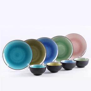 景德镇陶瓷碗盘套装 韩式陶瓷餐具 冰裂釉碗盘碟 创意新婚礼品