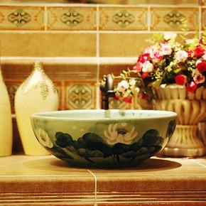 热卖 景德镇卫浴台上盆陶瓷 浴室洗面盆 艺术手绘洗手盆1113#促销
