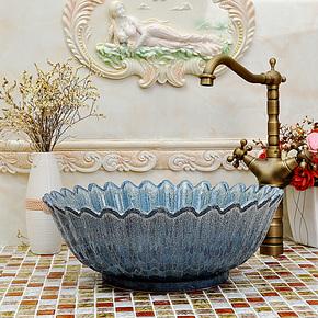特价包邮 欧式地中海 景德镇艺术台盆洗脸盆洗手盆台上盆—小花瓣