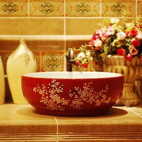 结婚季 景德镇艺术陶瓷卫浴洗手台 卫生间洗漱池 手绘梅碗型145#