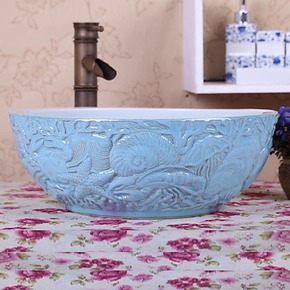 厨卫用品 地中海风格台上盆 创意洗脸盆 陶瓷艺术池盆 雕正品1109