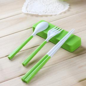 MIU COLOR米悠本色  筷子勺子叉子套装 环保便携折叠餐具三件套