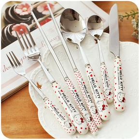默默爱♥可爱波点陶瓷不锈钢餐具叉勺筷刀套装