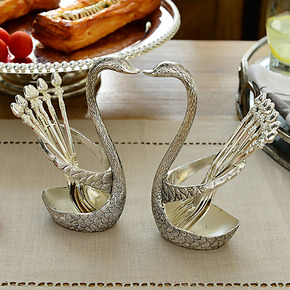 【装修节】欧式奢华餐具装饰品摆件 美琳合金天鹅水果叉勺1对