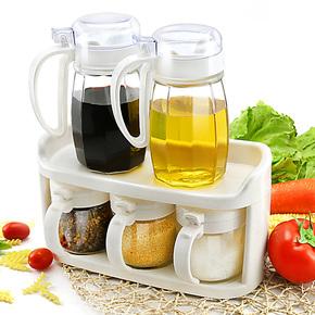 振兴油壶玻璃调味盒套装5件套 调料瓶罐3只酱油壶瓶2只 厨房用品