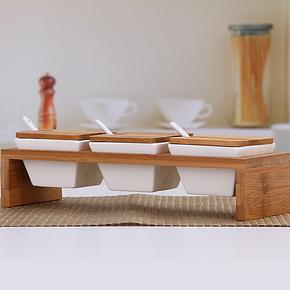 星扉 现代简约白瓷调味瓶三件套装陶瓷调味罐送竹托和勺厨房用品