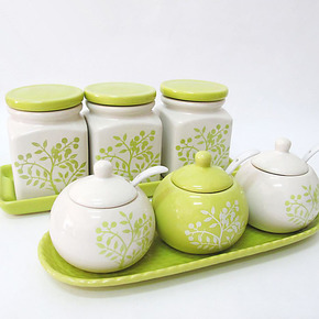 跃洋 厨房用品 景德镇陶瓷器调味罐套装 密封瓶罐 盐罐 调味瓶盒