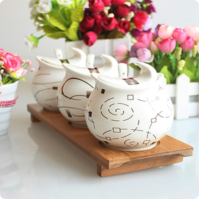 谦艺 欧式风情 包邮 陶瓷调味罐三件套装 厨房调料罐景德镇调味盒